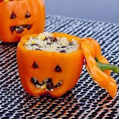 Orange stuffed Pepper halloween