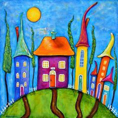 Sunny Side Up Giclée-Drucke von CB Burroughs – Evening Street Studios, LLC - Malerei Kunst Art Drawings For Kids, Owl Drawings, Cottage Art, Whimsical Art, Contemporary Paintings, House Painting, Doodle Art, Watercolor Paintings, Owl Paintings