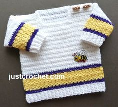 Free PDF baby crochet pattern for square neck sweater. http://www.justcrochet.com/square-neck-sweater-usa.html #justcrochet
