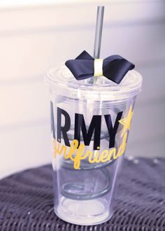 Personalized Yellow Army Girlfriend 16 oz Clear Tumbler on Rebecca Lane Graphics on Etsy!