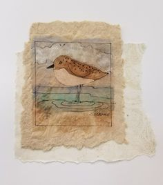 "Tea Bag Treasures ""Shorebird"" Suzanne LeLoup-West 8x10 framed Suzanne@suzannes-art-studio.com"