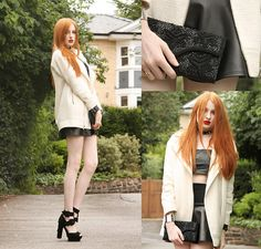 Topshop Oversized Coat, Oasap Faux Leather Crop Top, Boohoo Contrast Scuba Skirt, Vintage (My Mum's!) Embellished Clutch, Jeffrey Campbell D...