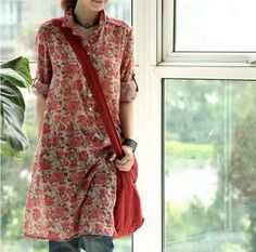 """""""Linen uses range from home furnishing items to clothing, such as suits, dresses, skirts and shirts. Tunic Sewing Patterns, Tunic Pattern, Tunic Designs, Kurta Designs, Indian Designer Outfits, Designer Dresses, Latest Top Designs, Simple Dresses, Casual Dresses"""