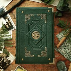 Featuring a beautiful bronze triskel ornament! Asylum Book, Grimoire Book, Astrology Books, Cool Journals, Custom Book, Cool Books, Magic Book, Leather Books, Leather Journal
