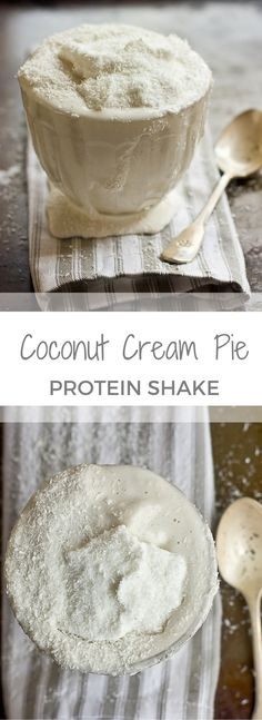 Dessert for breakfast, yes please!! This Coconut Cream Pie Protein Shake recipe has a simple ingredient list and no added sugar. Dairy free, vegan, gluten free, paleo.