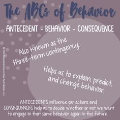 Have you ever felt if you could just understand your child (or student's) challenging behavior, you'd be better able to help them? The ABCs of behavior (also known as the three-term contingency) is one of the easiest ways to discover why a challenging behavior is occurring.