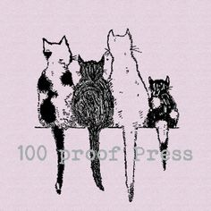 Four Cats on a Wall Wood Mounted Rubber Stamp by 100ProofPress, $7.50