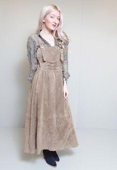 Vintage+1970s+Brown+Western+Suede+Pinafore+Dress