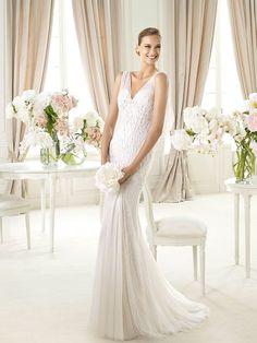 Two Pieces Beaded Open V-back V-neck Mermaid Wedding Dress