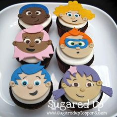 Bubble Guppies cupcake toppers from the best designer. Bubble Guppies Cupcakes, Bubble Guppies Birthday, Cupcake Bakery, Cupcake Cookies, Fondant Cupcake Toppers, Cookie Designs, Cute Cakes, Yummy Cakes, Cake Creations