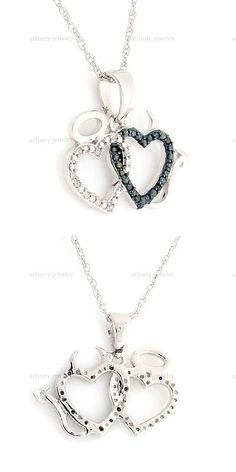 Other Wedding Jewelry 164311: 1/10 Ct Blue Diamond Angel And Devil Double Hearts Pendant Sterling 16 Necklace -> BUY IT NOW ONLY: $124.09 on eBay!