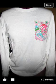 "NC Lilly Pulitzer print pocket long sleeve tshirt available on Facebook search ""Let's Craft"""