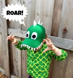 This is the cutest DIY dinosaur hat that will give a child hours of fun with imaginary play. This easy craft is a hit for kids. This would be perfect for a dino birthday party creation station! Kids Crafts, Craft Activities For Kids, Toddler Crafts, Preschool Crafts, Diy Dinosaur Costume, Dinosaur Hat, Dinosaur Crafts, Dinosaur Birthday, Diy For Kids
