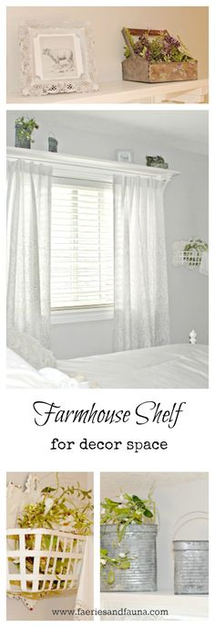 Farmhouse Shelf with Curtain Rod – Of Faeries & Fauna Craft Co.