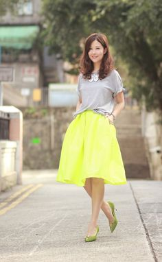 butterfly necklace, neon skater skirt & lime heels, choies plain tee from hubby's wardrobe