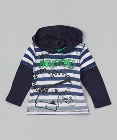 Look at this Nass Dress Blue 'Monstres' Layered Hoodie - Infant on #zulily today!