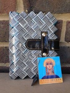 Nahui Ollin barcode design Filofax pocket planner. Bright blue inside with 6 ring binder and black patent leather clasp.