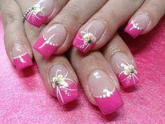 Easter Nail Designs, Easter Nail Art, Flower Nail Designs, Cool Nail Designs, Rose Nail Art, Pink Nail Art, Rose Nails, Flower Nails, Pink Tip Nails