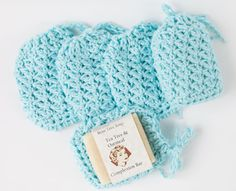 Textured Soap Sacks; Lots of cute gift ideas to crochet