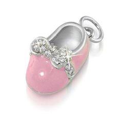 Bling Jewelry Mini Pink Enamel Pave Bow Petite Baby Shoe Charm Pendant