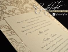 Swirls of Pearl and Gold from Carlson Craft - Swirls of pearl and gold embellish this ecru card with nuances that make this a truly striking wedding invitation.  #CarlsonCraft