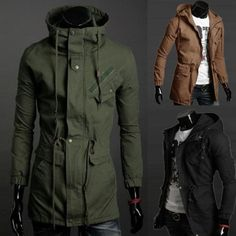 Military Winter Mens Slim Fit Hoodie Coat Warm Parka Trench Coat Hooded  Jacket 574fbbd9bf0