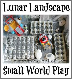 The Imagination Tree: Lunar Landscape Sensory Small World Play - for a play date with little dude friends when my girls are older. Space Preschool, Space Activities, Sensory Activities, Activities For Kids, Preschool Activities, Sensory Tubs, Sensory Boxes, Sensory Play, Imagination Tree