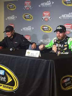Martin Truex Jr and Dale Jr in the media center
