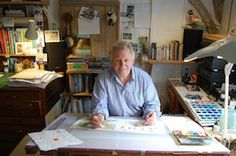 Colin King, the illustrator of 'The KnowHow Book of Spycraft' in his studio.  www.usborne.com/spycraft  #spycraft Illustrator, King, Studio, Reading, Books, Pictures, Crafts, Home Decor, Livros