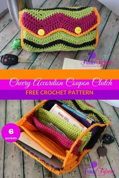 Free crochet pattern – Make this very practical coupon organizer. This clutch features 6 pockets to keep your coupons organized, and an accordion style for easy fold up. Get playful with your colors and have some fun with this very cheery chevron crochet Chevron Crochet, Cute Crochet, Crochet Hooks, Crochet Organizer, Crochet Hook Case, Purse Patterns Free, Crochet Purse Patterns, Bag Pattern Free, Crochet Accessories Free Pattern