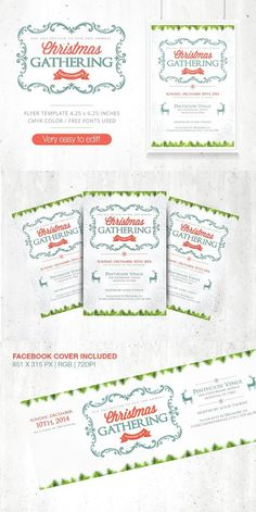 Christmas Gathering Flyer + FB Cover. Wedding Fonts