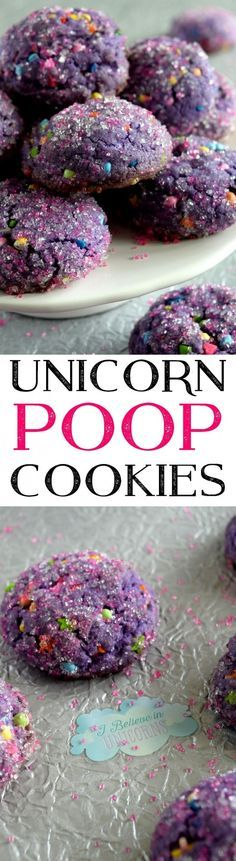 Unicorn everything is all the rage right now and these Unicorn Poop Cookies are much more delicious than the name suggests! Thick, chewy, s. Brownie Desserts, Köstliche Desserts, Dessert Recipes, Purple Desserts, Snack Recipes, Food Deserts, Cheesecake Cookies, Healthy Recipes, Cheesecake Recipes