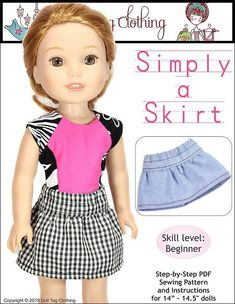 Doll Tag Clothing FREE pattern so sew a skirt for WellieWishers and Hearts for Hearts Girls dolls.