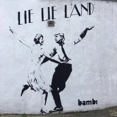 """Lie Lie Land"". Donald Trump and Theresa May. London, UK: new piece by Bambi."