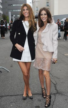 Bianca Brandolini D'Adda and Olivia Palermo arrive for the Valentino Ready to Wear Spring/Summer 2011 show during Paris Fashion Week at Halle Freyssinet in Paris on October 5, 2010. in Jimmy Choo, and Valentino coat.