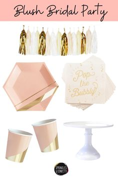 Decorate your bridal shower, engagement or bachelorette party with stylish blush and gold plates, napkins, utensils, garlands and more from our party shop! Celebrate the bride-to-be and all your guests with a custom party box. Parties made simple! Blush Bridal Showers, Party Pops, Party In A Box, Blush And Gold, Garlands, Unique Weddings, Utensils, Confetti, Diy Wedding