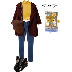 """mirrors"" by gabbyhatesu on Polyvore skinny jeans, yellow long sleeve layers underneath black booties denim fur coat"