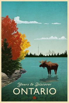 Ontario Travel Poster This is another travel poster for the provinces and territories of Canada. There is a reason Ontario. Art Deco Posters, Vintage Travel Posters, Lac Canada, Party Vintage, Vintage Art, Vintage Jewelry, Posters Canada, Ontario Travel, Retail Robin