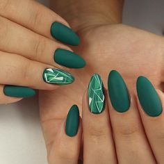 Acrylic Nails Green Design MERNUR hopes these 30 Most Sexy and Stunning Green Nails Design (Matte Nails, Acrylic Nails) You Should Try that can help you out. We hope you like this collection. ♡Matte nails are one of the hottest trends in French Tip Nail Designs, Almond Nails Designs, French Tip Nails, Acrylic Nail Designs, Green Nail Designs, French Manicures, Nail Art Designs, Nails 2018, Prom Nails