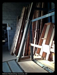 Random veneer flitches stored by power lift.