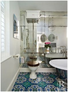 Cement Tile is great for use in bathrooms given its beauty, versatility in concrete tile designs, and durability. Contact Rustico Tile and Stone for a price estimate. We offer wholesale prices and we ship WORLDWIDE!  Shop bathroom tiles in our Cement Tile MeaLu Collection. #rustico #cementtile #encaustic #tile #flooring #bathroom #decor #homedecor #interior #design #interiordesign #architecture #floor #decorative #mexicantile #spanish