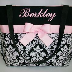 Black DAMASK... Baby  PINK Accents ...  Personalized DIAPER Bag