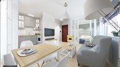 W niewielkiej kawalerce wygospodarowano miejsce na wszystkie podstawowe strefy domowe - salon, kuchnię, jadalnię oraz...