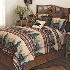 A Black Forest Décor Exclusive - Stay cozy with bands of black bears accented with southwestern geometric patterns on this soft microfiber polyester bedding. Sets include comforter, two shams (twin has one; king has king shams) and one accent pillow. Machine wash.