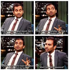 Funny pictures about Aziz Ansari Ain't Afraid Of No Ghost. Oh, and cool pics about Aziz Ansari Ain't Afraid Of No Ghost. Also, Aziz Ansari Ain't Afraid Of No Ghost photos. Funny Quotes, Funny Memes, Jokes, Tv Quotes, It's Funny, Funny Pins, Funny Stuff, Freaking Hilarious, Fotografia