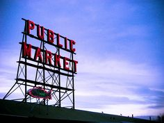 Pike Place Market sign in Downtown Seattle, WA