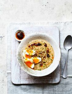 Savoury Porridge (Congee) Ever thought of making your morning porridge savoury? Check out this quick and easy dish with fiery ginger, runny eggs and punchy chilli oil. Ideal for a low calorie midweek meal