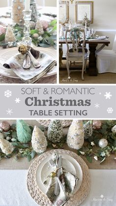 Romantic Christmas Table Setting in Blush Pink and White--->#maisondecinq christmastable christmastablescape holidaytable holidaytablescape holidayentertaining classicchristmas tablesetting… More The Best Of Christmas, Pink Christmas, Christmas Home, Christmas Ideas, Christmas Crafts, Country Christmas Decorations, Christmas Table Settings, Christmas Tablescapes, Dinner Party Table