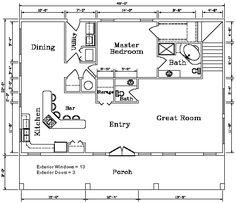 First level floor plan for the Kodiak Steel Homes Savannah 1: 3,072 Square Feet. #steel #floorplans #architecture
