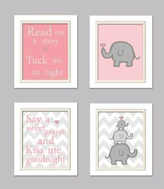 I LOVE IT!!!!           Nursery Quad, Pink and Grey Nursery, Elephant wNursery, Set of 4 16x20, Pink, Grey